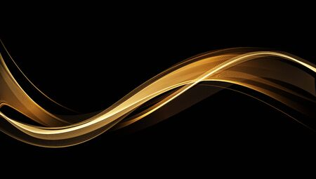 Abstract shiny color gold wave design element on dark background. Fashion motion flow design for voucher, website and advertising design