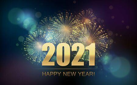 2021 Neujahr abstrakter Hintergrund mit Feuerwerk