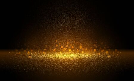Luxury Gold glitter particles on black background. Golden glowing lights magic effects. Glow sparkles, vector illustration. Glitz dust
