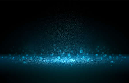 Luxury blue gold glitter particles on black background. Blue glowing lights magic effects. Glow sparkles, vector illustration. Glitz dust