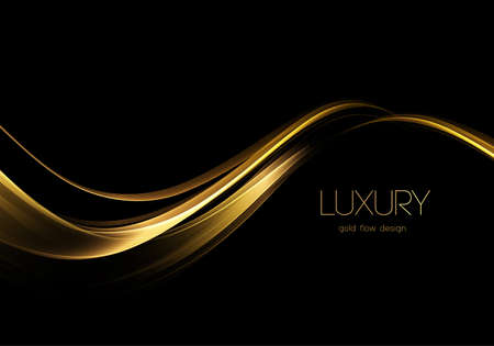 Abstract shiny color gold wave design element Illusztráció
