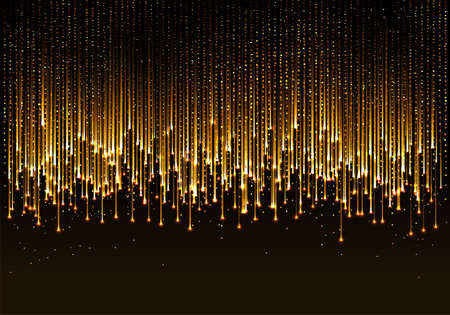 curtain of golden particles on a black background
