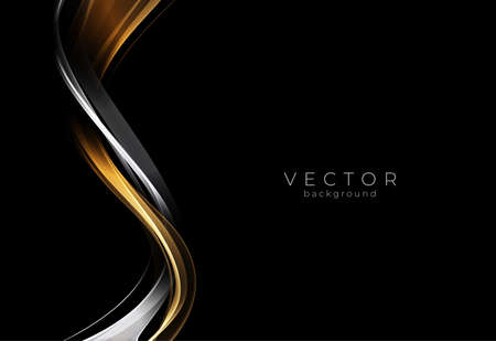 Abstract shiny gold and silver wave design element