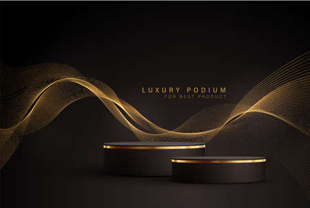 Minimal black scene with golden lines. Cylindrical gold and black podium on a black background. 3D stage for displaying a cosmetic product Ilustración de vector