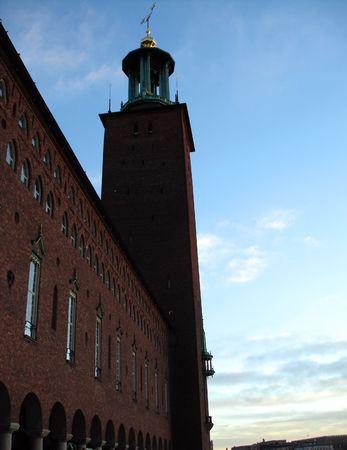 sweden winter: red bricks watch-tower in Stockholm, Sweden, winter