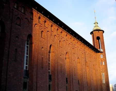 sweden winter: wall of cathedral in Stockholm, Sweden, winter