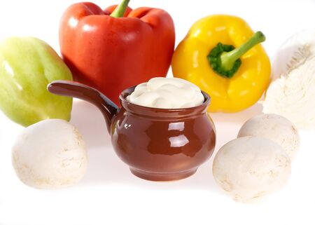 mayonnaise, champignons, and fresh vegetables close up   photo