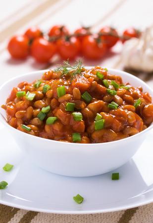 garlic clove: Braised beans with mushrooms, cherry and garlic clove