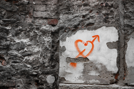 distressing: Spray Painted Heart on the Wall