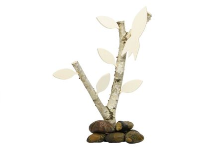 co2 neutral: Birchwood with leafs and small rocket as signpost or handicap direction up or as a symbol of upward
