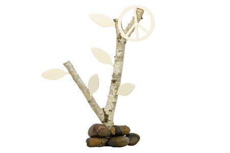 birchwood: Birchwood with wooden symbol for peace