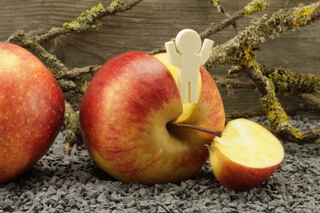 main course: Tasty apples make good mood Stock Photo