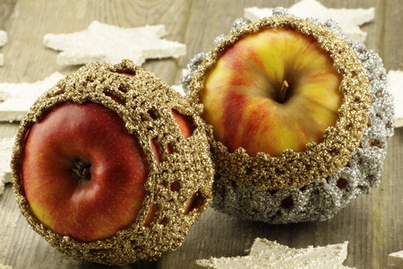 food poison: Wintry decorated with wooden apples stars