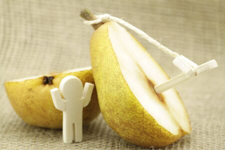 genetic modification: Small wooden figure with great fruit or pear Stock Photo