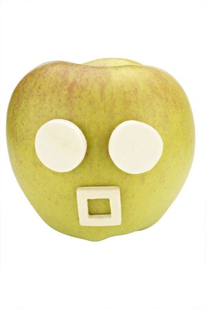 Apple smiley with expression amazed Stock Photo