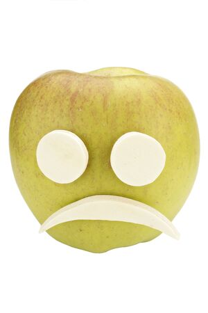 dissatisfaction: Apple smiley face with sad expression