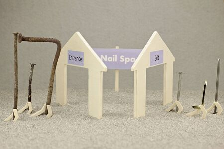 Representation of a nail spa with steel nails
