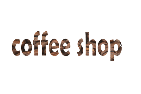 Image with coffee beans and cut out word Coffee shop