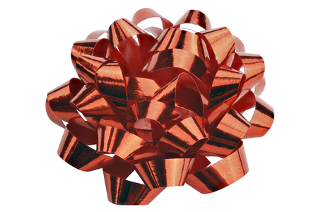 Close up of a bow of red gift ribbon
