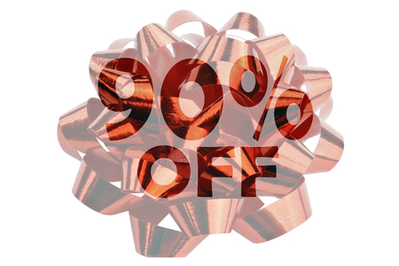 Symbolically highlighted text 90% off against the background of a red gift loop