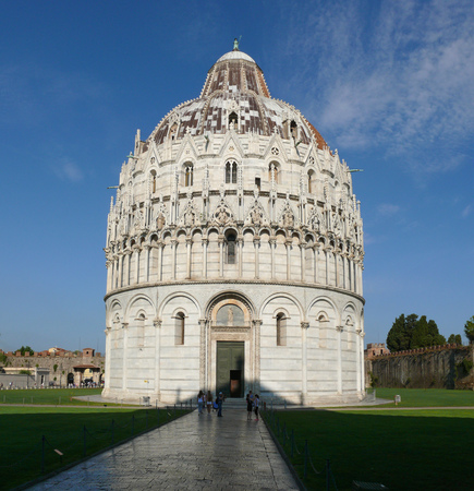 Pisa, Italy, august 2, 2014: The Pisa Baptistery on The square of Miracles in the morning