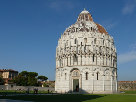 Pisa, Italy, august 2, 2014: The square of Miracles in the morning, The Pisa Baptistery