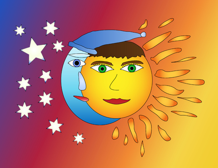 Moon and sun friendship, moon and sun smiling together on colorful background Illustration