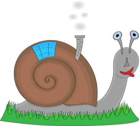 Happy snail with tongue out taking his home on his back, white background Ilustração