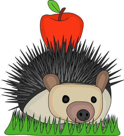 Vector illustration cute hedgehog carry small red apple on the back and passing through the grass.