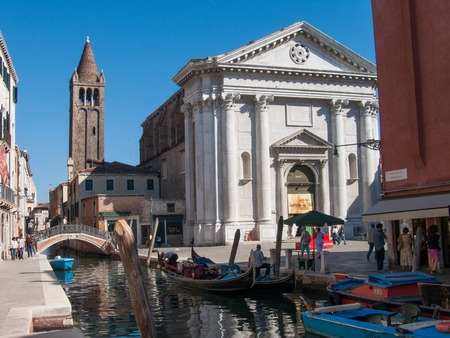 Venice, Italy, october 2, 2011: Churches and canals of Venice, beautiful venetian architecture Editöryel