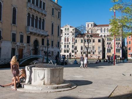 Venice, Italy, october 2, 2011: square San Vio, Rio di San Vio and Canal Grande