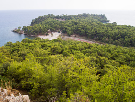 Phaselis, Turkey - View of the bay with ancient greek and roman city Banco de Imagens