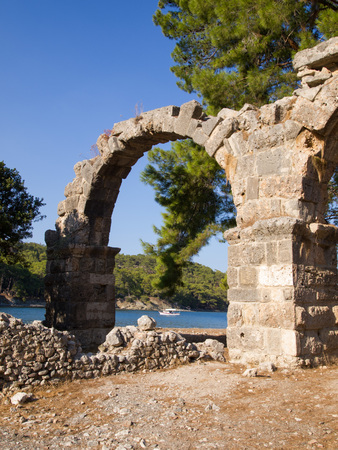 The aqueduct in Phaselis, Turkey - An ancient Greek and Roman city on the coast of Lycia
