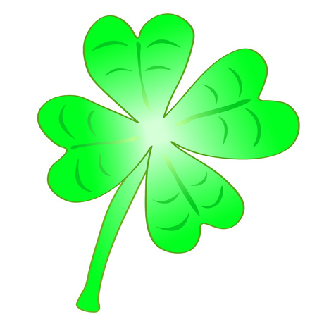 Vector Illustration - Beautiful light green cloverleaf with four leafs, happiness for St. Patricks day