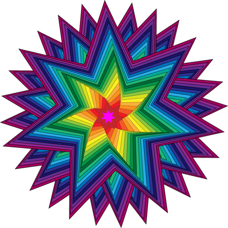 Colorful star ornament, beautiful star with rainbow colors Çizim