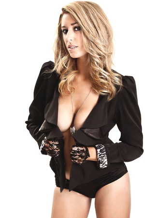 sexy blonde girl: blonde model in jacket