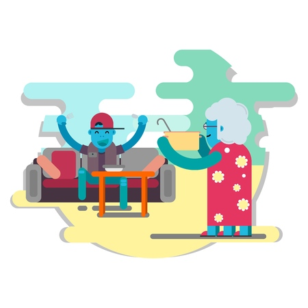 A good extraterrestrial grandmother feeds her happy grandson with borscht. Vector Illustration. Illustration