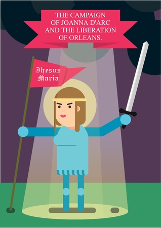 Jeanne D'arc, with a sword and a banner in her hands, stands in the heavenly rays. Liberation of the Orléans.  イラスト・ベクター素材
