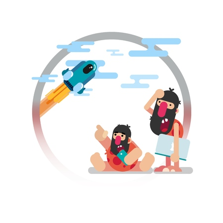 Vector illustration. Funny primitive people with modern technology in their hands are watching the flight of the space shuttle.