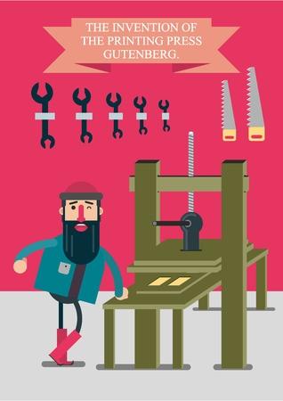Die Erfindung der Druckmaschine von Johann Gutenberg. Der bärtige Mann, zufrieden mit der geleisteten Arbeit, steht in seiner Werkstatt neben der Druckmaschine. Vektorgrafik