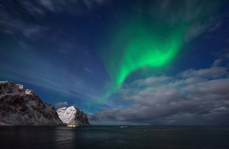lofoten: Aurora above sea and mountains, Lofoten