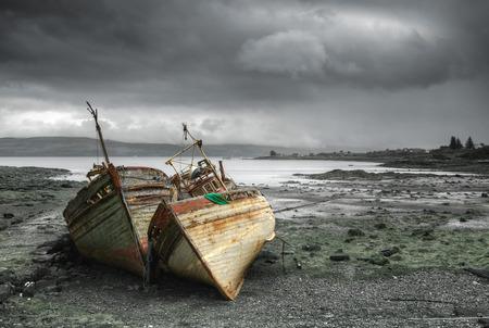ship wreck: Abandoned boats in Salen, Scotland