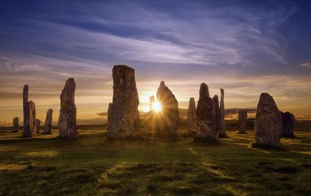 pietre Callanish al tramonto, in Scozia Archivio Fotografico