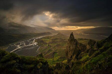 Valahnukur, rocky mountain in Thorsmork, Iceland Stockfoto