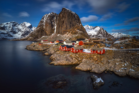 beautiful weather: Hamn�y village on Lofoten in beautiful weather