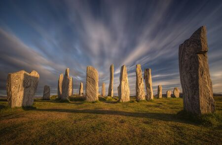 Callanish stones in sunset light, Lewis, Scotland Фото со стока