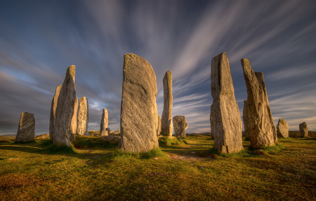 Callanish stones in sunset light, Lewis, Scotland Stock Photo