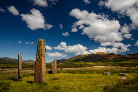 Machrie Moor Stones in beautiful weather, Isle of Arran, Scotland Фото со стока