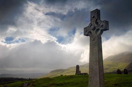 Celtic cross on Cill Chriosd graveyard, Isle of Skye, Scotland