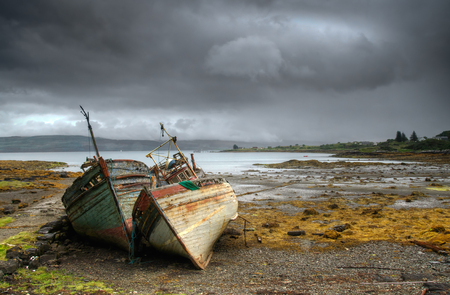 mull: Abandoned boats in Salen, Isle of Mull, Scotland